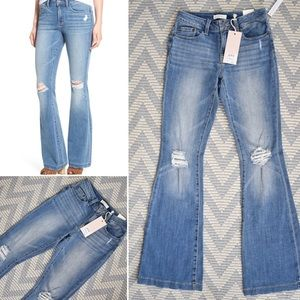 NWT $68 Sun Shadow Distressed Flare Jeans